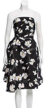 Oscar de la Renta Gathered Floral Print Dress