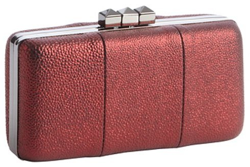 Sondra Roberts metallic red pebbled leather hinged clutch