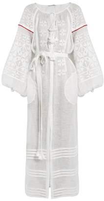 Vita Kin - Butterfly Embroidered Linen Dress - Womens - White