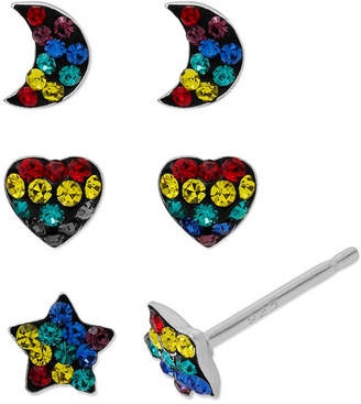 FINE JEWELRY Sterling Silver Multi Color Crystal Earring Sets