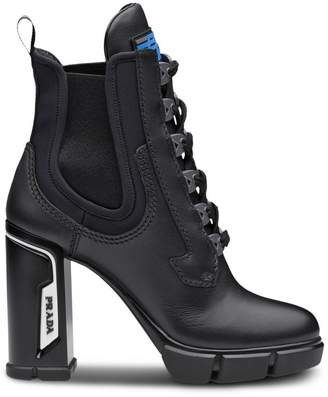 Prada Laced leather booties