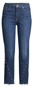 7 For All Mankind Edie Straight-Leg Grommet Jeans