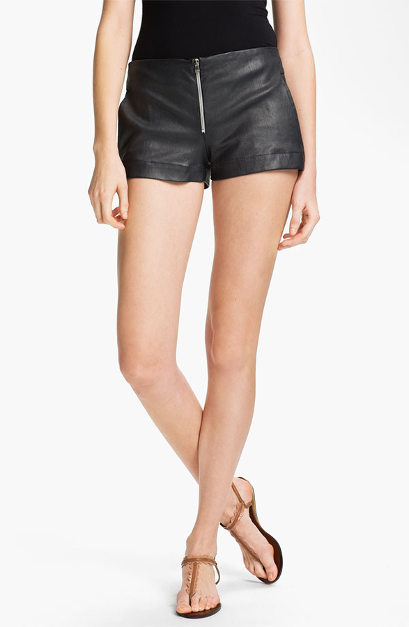 L'Agence Lambskin Leather Shorts
