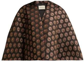 Gucci Floral And Logo Jacquard Cape - Womens - Black