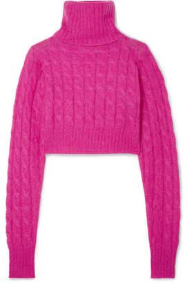 Matthew Adams Dolan - Cropped Cable-knit Mohair-blend Turtleneck Sweater - Fuchsia