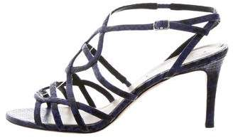 Via Spiga Embossed Leather Cage Sandals