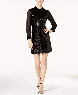 Julia Jordan Velvet-Collar Sequined Shift Dress