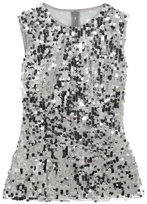 Dolce & Gabbana - Sequined Tulle Top - Silver $1,245 thestylecure.com