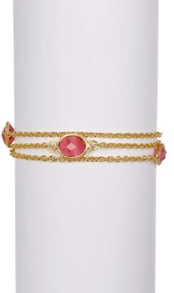 Rivka Friedman Multiple Row Petite 3 Station Raspberry Cats Eye Crystal Bracelet