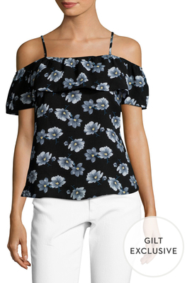 Cold Shoulder Ruffle Printed Top $95 thestylecure.com