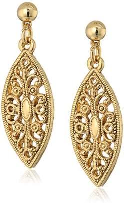 1928 Jewelry 14K -Dipped Filigree Post Drop Earrings