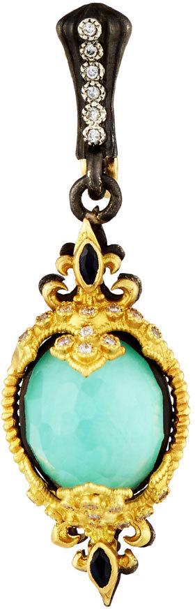 ArmentaArmenta Mini Fleur-de-Lis Oval Pendant Enhancer w/ Turquoise, Sapphire & Diamonds