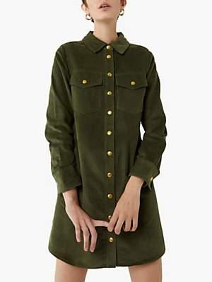 Warehouse Cord Mini Shirt Dress, Light Green