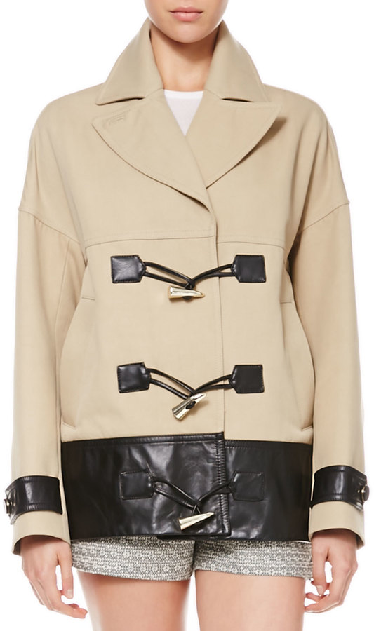Jason Wu Cropped Leather-Trim Toggle Coat