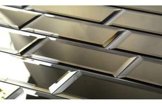 "Abolos- Echo 3"" x 12"" Mirror Glass Peel & Stick Tile Backsplash in Gold (14sqft / 14sheets)"