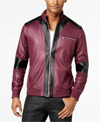 INC International Concepts I.n.c. Men's News Jacket with Faux Leather Trim