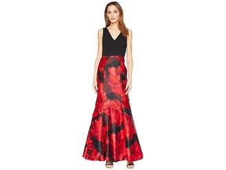 Calvin Klein Floral Print Bottom V-Neck Gown