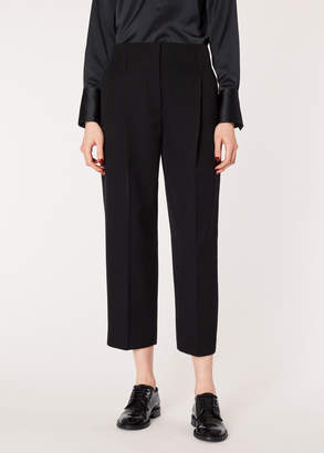 Paul Smith Women's Black Pleated Tuxedo Trousers With Satin Details