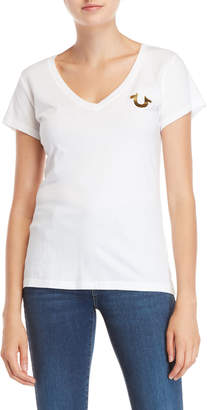True Religion Deep V-Neck Foil Logo Tee