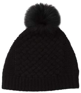 SKULL CASHMERE Rachel Knit Cashmere Genuine Fox Fur Pompom Beanie
