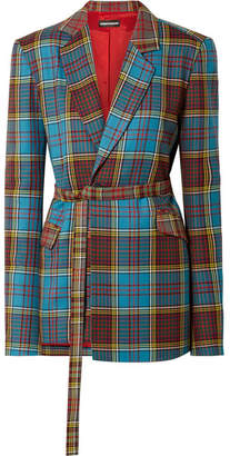 House of Holland Oversized Tartan Wool Blazer - Blue