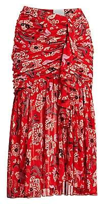 Cinq à Sept Women's Kathleen Floral Ruched Silk Midi Skirt