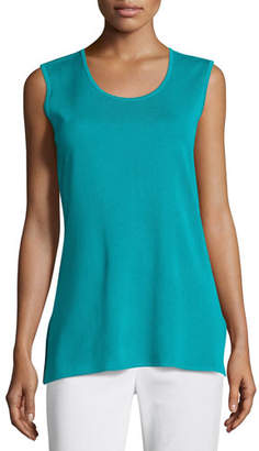 Misook Petite Solid Knit Tank, Turquoise