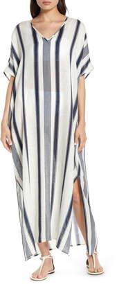 Tory Burch Awning Stripe Cover-Up Caftan Maxi Dress