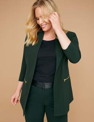Lane Bryant Zip Pockets Tailored Stretch Jacket - Green