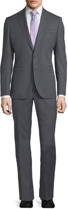 Neiman Marcus Herringbone Wool Two-Piece Suit, Gray