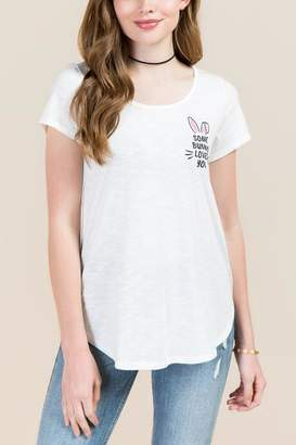 francesca's Somebunny Loves You Graphic Tee - White