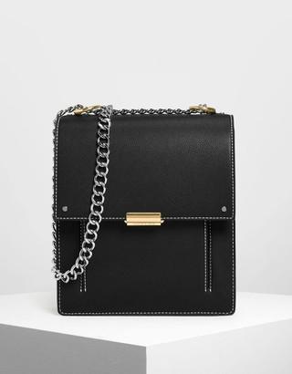 9bdf644277e0 Charles   Keith Chain Strap Portrait Messenger Bag