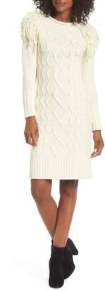 Eliza J Fringe Shoulder Cable Sweater Dress