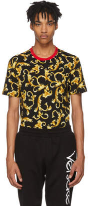 Versace Black and Gold Brocade Print T-Shirt