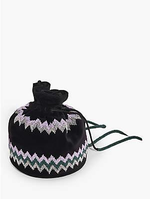 Jigsaw Zig Zag Velvet Bag, Black
