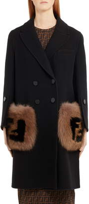 Fendi Double Breasted Wool Coat with Genuine Fox Fur Logo Pockets
