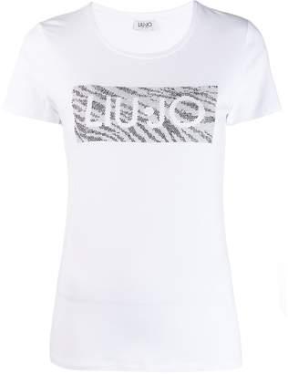 Liu Jo crystal embellished logo T-shirt