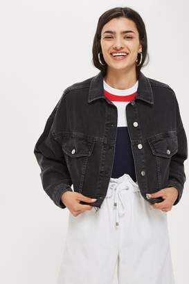 Topshop MOTO Hacked Off Cropped Denim Jacket