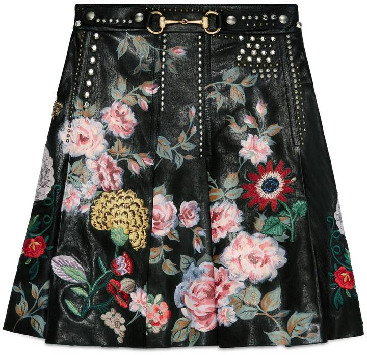 Hand-painted leather skirt