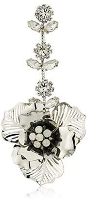 Badgley Mischka Womens 3D Flower & Crystal Drop Earrings