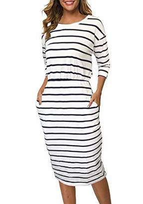 Moyabo Womens Plus Size Dresses Striped 3/4 Sleeve Round Neck Hips-Wrapped Bodycon Office Pencil Dress