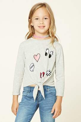 Forever 21 Girls Patch Tie Shirt (Kids)