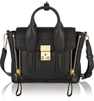 3.1 Phillip Lim - The Pashli Mini Textured-leather Trapeze Bag - Black $695 thestylecure.com