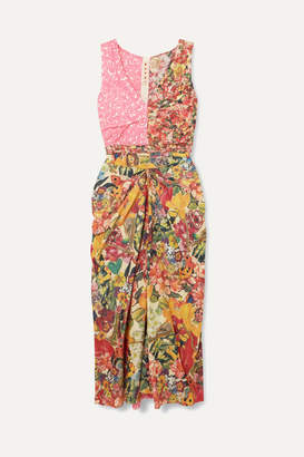 Marni Ruched Floral-print Cotton-poplin Midi Dress - Pink
