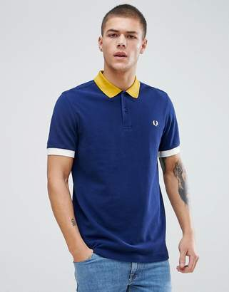 Fred Perry Colour Block Pique Polo In Navy