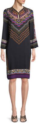 Etro Long-Sleeve Floral-Print Shift Dress