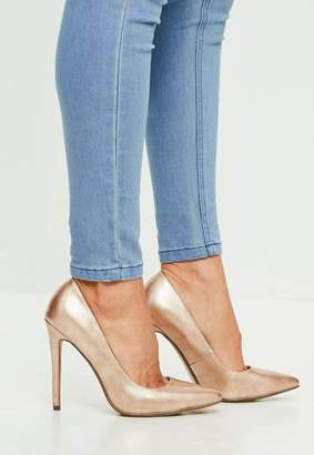 Missguided Gold Vinyl Pumps
