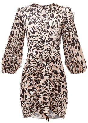 Alexandre Vauthier Leopard Print Stretch Silk Satin Mini Dress - Womens - Pink Print