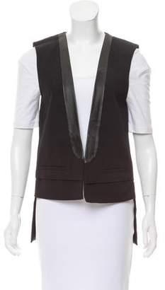 Tibi Leather-Trimmed Open Front Vest