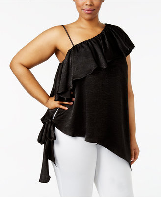 Soprano Trendy Plus Size One-Shoulder Top $49 thestylecure.com